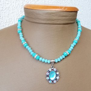 Colar bijuteria  cristais azuis com pingente em strass
