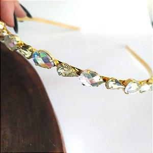Tiara folheada dourada 2 tamanhos gotas furtacor