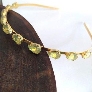 Tiara folheada dourada gotas dourada leitosa