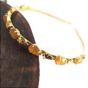 Tiara folheada dourada 2 tamanhos gotas douradas