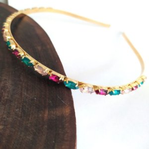 Tiara folheada dourada navetes color