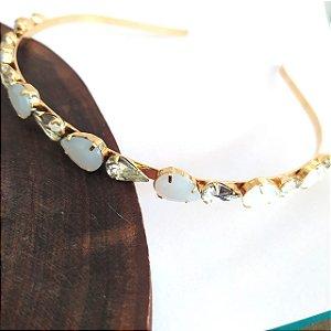 Tiara folheada dourada 2 tamanhos de gotas brancas