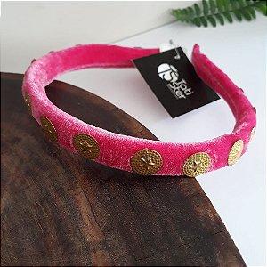 Tiara veludo rosa com moedas douradas
