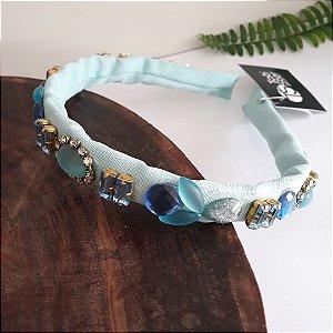 Tiara divina tecido azul com pedrarias