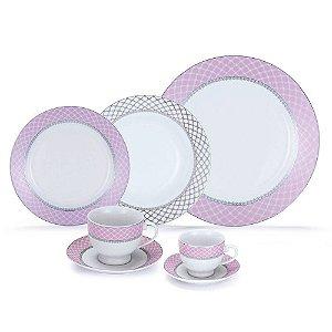 Aparelho de Jantar Royal Castle Chá Café 42 Peças Porcelana Estampa Rosa - Royal0002