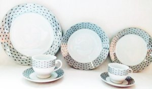 Aparelho de Jantar Royal Castle Chá Café 42 Peças Porcelana Estampa Preta - Royal0001