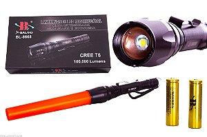 Lanterna Tática Led 100000 Lumens Bastão Zoom 2 Baterias Recarregável Sinalizador