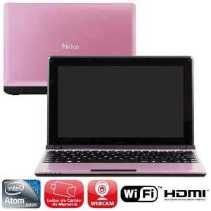 "Netbook Philco 10C-R123LM Rosa Intel Atom Dual Core D2500 2GB 320GB Leitor de Cartões HDMI Wireless Webcam LED 10.1"" Linux Mandriva"