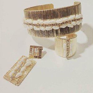 conjunto aramado de brinco, pulseira e anel banhado a ouro com pérolas de água doce