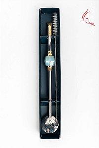 Bomba Grande Inox c/ Pedra e Banhada Ouro - 25cm