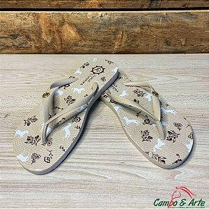 Chinelo Feminino Marfim Cavalinhos - Guria Campeira