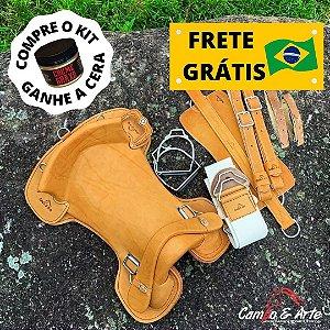 Kit Sela Freio de Ouro Anatômica - Mostarda c/ Gato