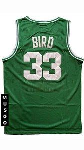 Camiseta Regata Esporte Basquete Boston Larry Bird Número 33 Verde