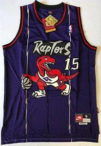 Camiseta Regata Esportiva  Basquete NBA Toronto Raptors Vince Cárter Numero 15 Roxa