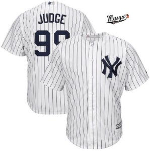 Camisa Esportiva Baseball  MLB New York Yankees Aron Judge Numero 99 Branca Listrada
