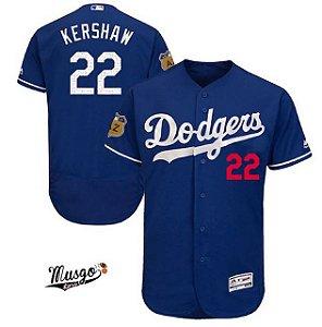 Camisa Esportiva Baseball  MLB Los Angeles Dodgers Kershaw Numero 22 Azul