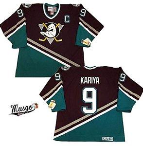 Camisa Esportiva Hockey NHL Anaheim Mighty Ducks Super patos  Paul Kariya Numero 9