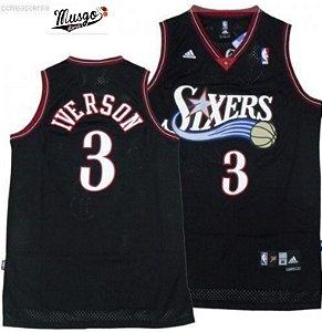 Camiseta Esportiva Regata Basquete NBA Swingman Philadelphiia 76ers Allen Iverson Numero 3 Preta