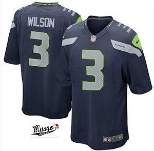 Camisa Esportiva Futebol Americano NFL Seattle Seahawks Russel Wilson Numero 3 Azul
