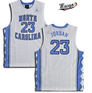 Camiseta Esportiva Regata Basquete Universitario NCAA North Carolina Michael Jordan Número 23 Branca