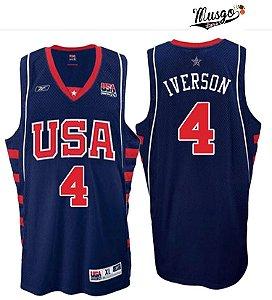 Camiseta Regata Esporte  basquete Seleção Americana Olimpiadas Atenas 2004 Allen Iverson Número 4