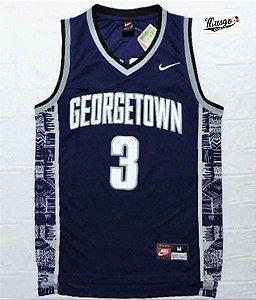 Camiseta Regata Esporte Basquete Universitario  NCAA Georgetown Allen Iverson Número 3 Azul