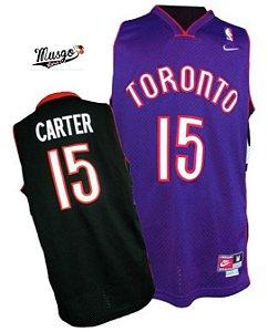 Camiseta Regata Basquete NBA Toronto Raptors Dunk Contest Vince Cárter Número 15 Roxa