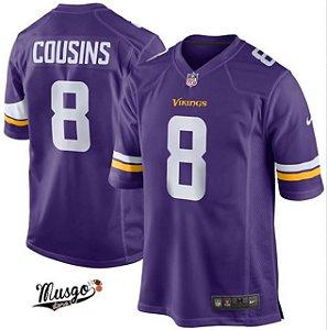 Camisa Esportiva Futebol Americano NFL Minnesota Vikings Kirk Cousins Numero 8 Roxa