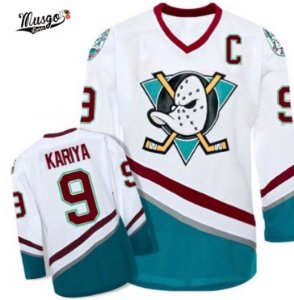 Camisa Esportiva Hockey CCM NHL Anaheim Mighty Ducks Paul Kariya Numero 9 Branca