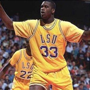 Camiseta Esportiva Regata Basquete Universitário NCAA LSU Shaq O'Neal Número 33 Amarela