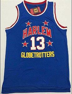 Camiseta Esportiva Regata Basquete Classics Harlem Globetrotters Wilt Chamberlain Numero 13 Azul