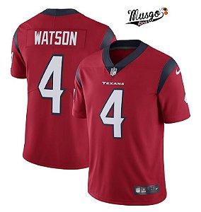 Camisa Esportiva Futebol Americano NFL Houston Texans Deshaun Watson Numero 4 Vermelha
