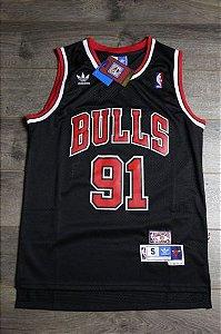 Camiseta Esportiva Regata  Basquete NBA Classics Chicago Bulls Dennis Rodman Numero 91Preta