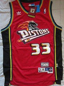 Camiseta Regata Esportiva  Basquete NBA Classics Detroit Pistons Grant Hill Numero 33 Vermelha