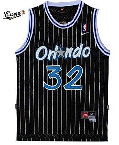 Camiseta Regata Esportiva Basquete  NBA classics Orlando Magic Shaq O'neal Numero 32 Preta Listrada