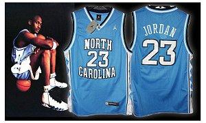 Camiseta Regata Esportiva Basquete  NCAA North Carolina Michael Jordan Numero 23 Azul