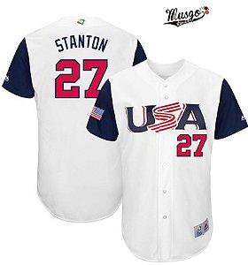 Camisa Esportiva Baseball Selecão Americana Giancarlo Stanton Numero 27 Branca e Azul