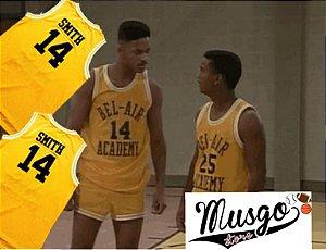 Camiseta Regata Esporte Basquete Um Maluco no Pedaco Bel Air Academy Will Smith Numero 14 Amarela