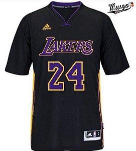 Camisa Esportiva Basquete NBA Los Angeles Lakers Kobe Bryant Numero 24 com manga