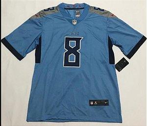 Camisa Esportiva Futebol Americano NFL Tennessee Titans Mariota Numero 8 azul