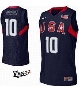 Camiseta Regata Esportiva Basquete Nike Seleção Americana Pequim 2008 Kobe Bryant Numero 10 Azul