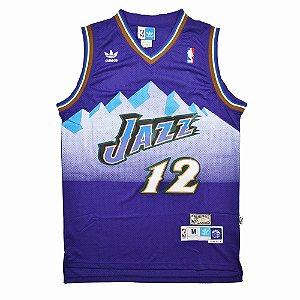 Camiseta Regata Esportiva Basquete NBA Utah Jazz John Stockton Numero 12 Roxa