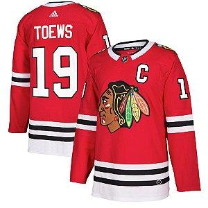 Camisa Esportiva Hockey NHL Chicago BlackHawks Toews Numero 19 Vermelha