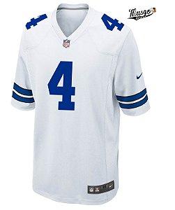 Camisa Esportiva Futebol Americano NFL Dallas Cowboys Dak Prescott Numero 4 Branca