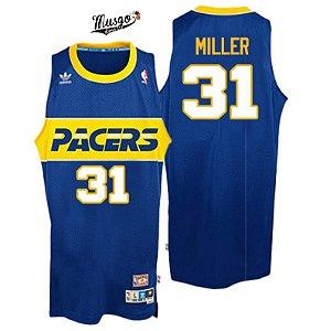 Camiseta Esporte Regata Basquete NBA Indiana Pacers Reggie Miller Numero 31 Azul e amarela