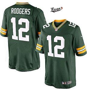 Camisa Esportiva Futebol Americano NFL Green Bay Packers Aaron Rodgers Numero 12 Verde