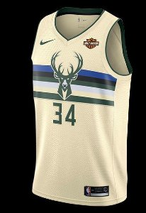 Camiseta Esportiva Regata Basquete NBA Milwaukee Bucks Giannis Antetokounmpo City Edition Numero 34 Bege