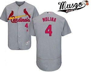 Camisa Esporte Baseball MLB St. Lois Cardinals Yeager Molina Número 4 Cinza