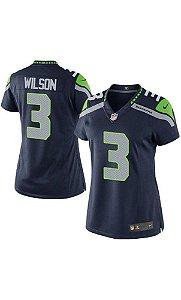 Camisa Esportiva  Futebol Americano NFL Feminina Seattle SeaHawks Russel Wilson Numero 3 Azul