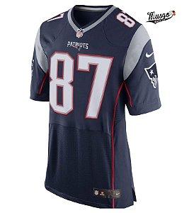 Camisa Esporte  Futebol Americano NFL New England Patriots Rob Gronkowski Número 87 Azul